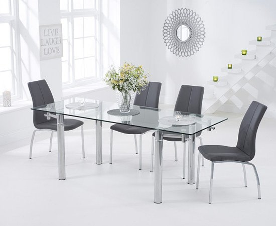 SAVE on the Geneva 140cm Glass Extending Dining Table with Cavello Chairs!