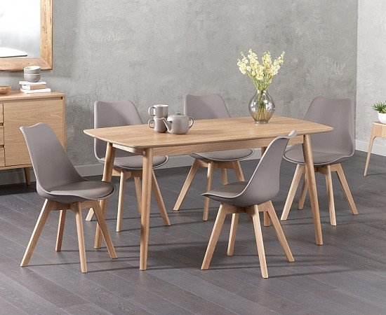SAVE on the Newark 150cm Oak Dining Table with Demi Faux Leather Chairs!