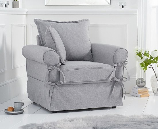 SAVE on the Clemence Grey Linen Armchair!