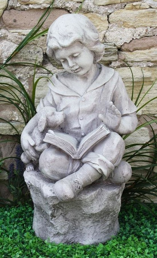 Grey Stone Effect Boy Reading On Stone Sculpture Statue Garden Ornament