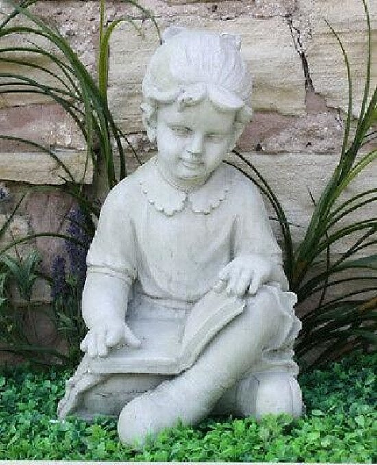 Large Grey Stone Effect Girl Reading Statue Garden Lawn Ornament