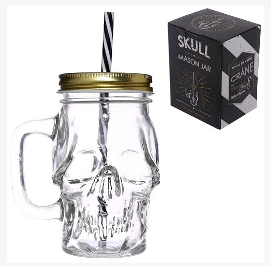 SET OF 4 - FUN SKULL SHAPED GLASS DRINKING JARS WITH STRAW