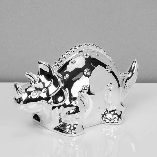 Bambino Silver Plated Dinosaur Money Box