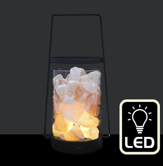 Black LED Salt Lamp Lantern