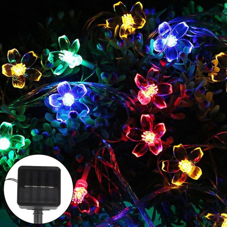 50 LED Solar Power Flower Fairy Garden Lights String Outdoor -Colourful