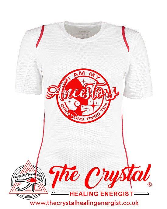 I Am My Ancestors Creations   Ladies White & Red T-Shirt Sizes 8-16