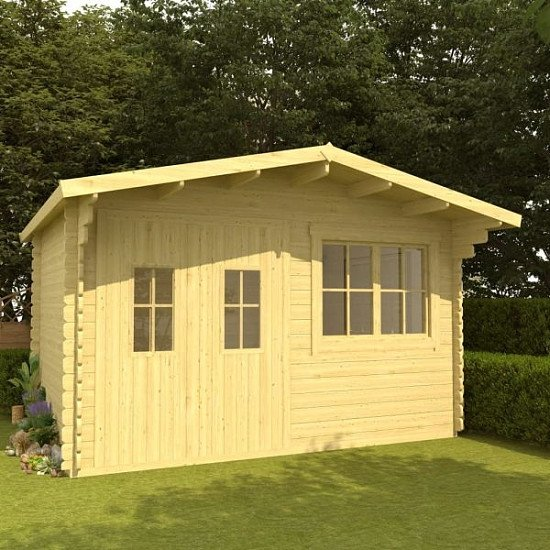 Log Cabin 34 mm 400x376x256.5 cm Solid Pinewood