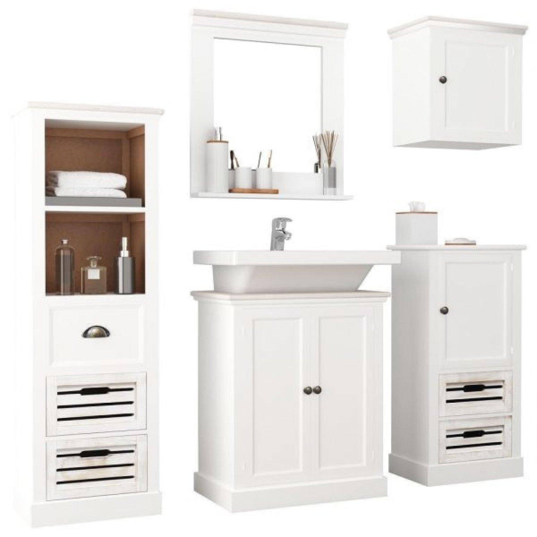 5 Piece Bathroom Furniture Set Solid Wood White