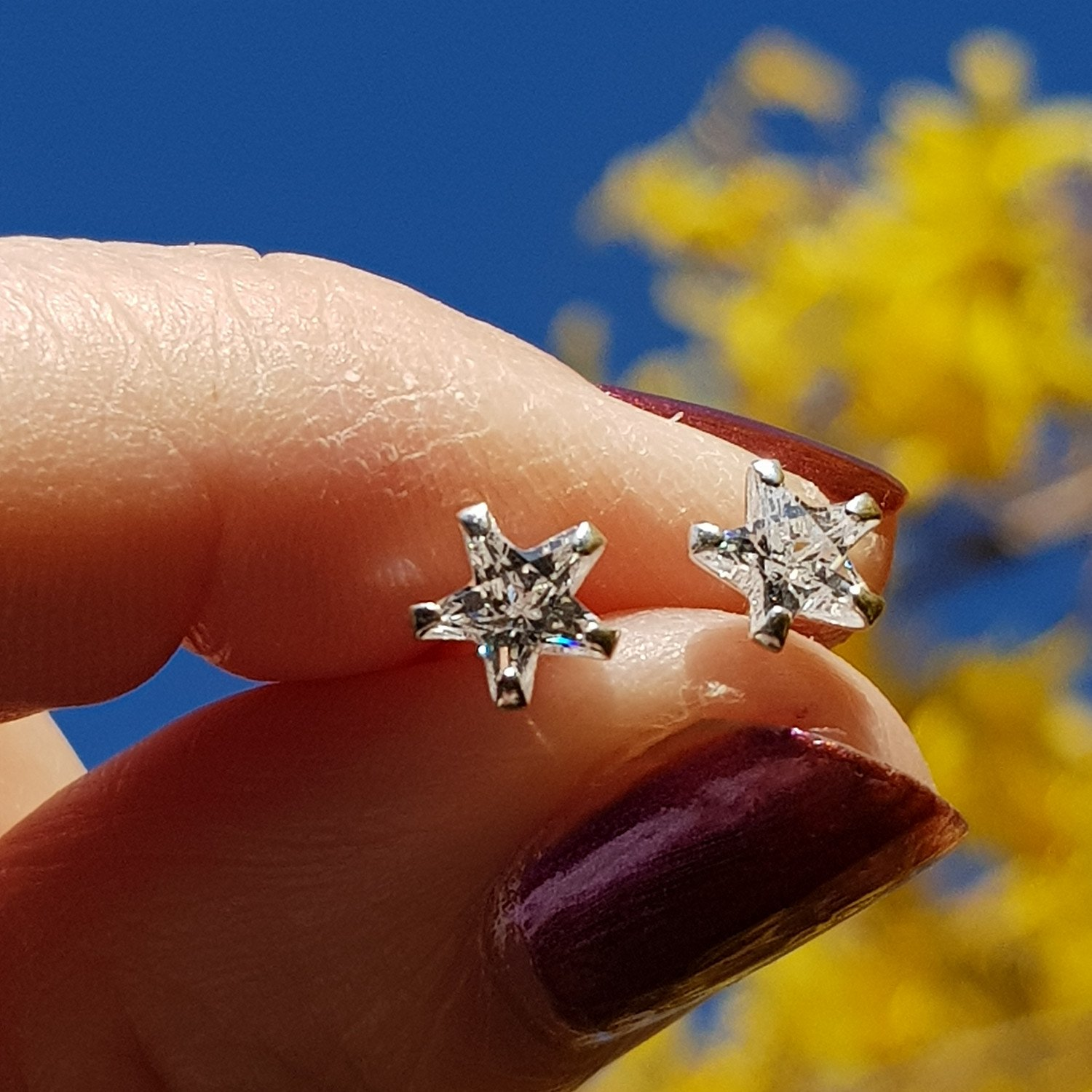 NEW IN - STUNNING SILVER STAR WITH STAR CUBIC ZIRCONIA STUD EARRINGS - ONLY £16 - FREE UK DELIVERY