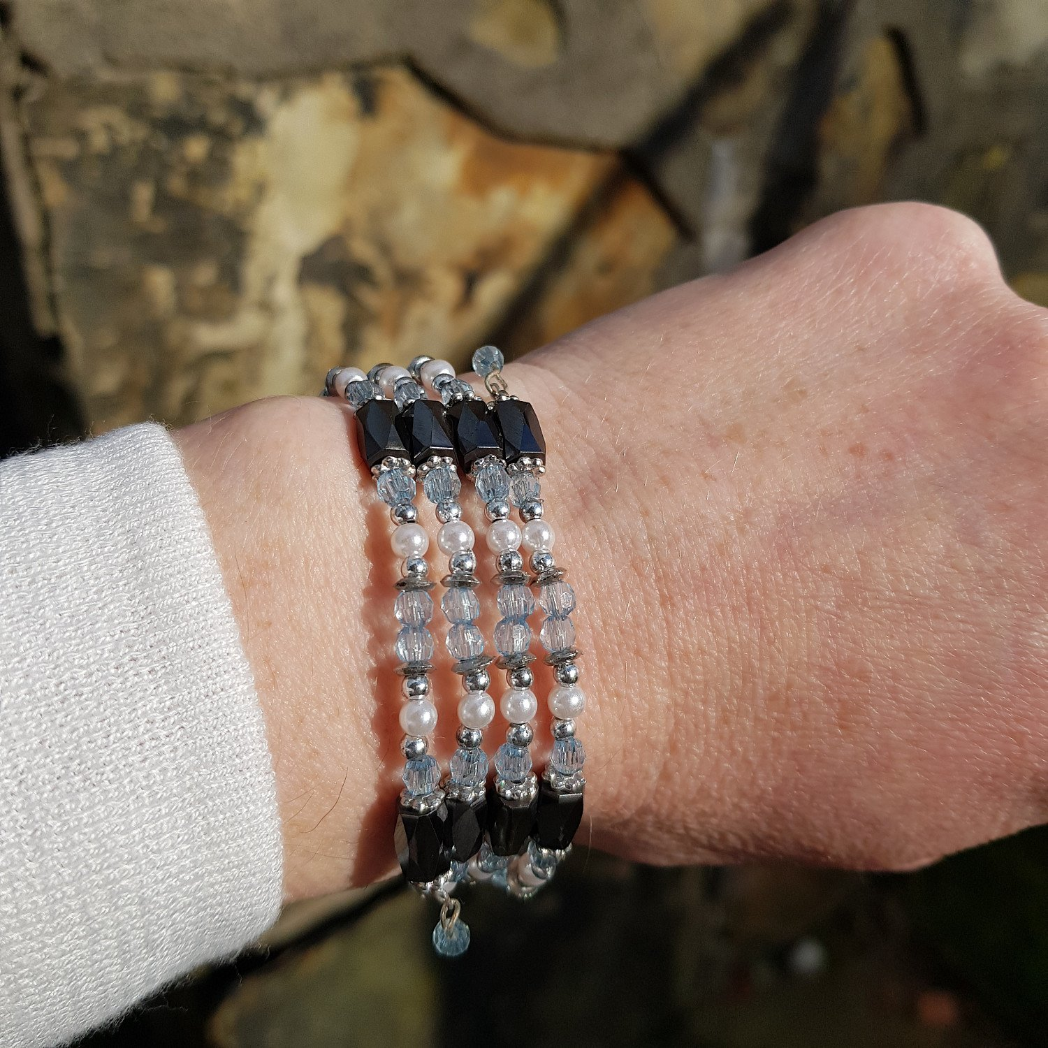 """23"""" Magnetic hematite & blue bead chain can be worn as necklace or bracelet"""