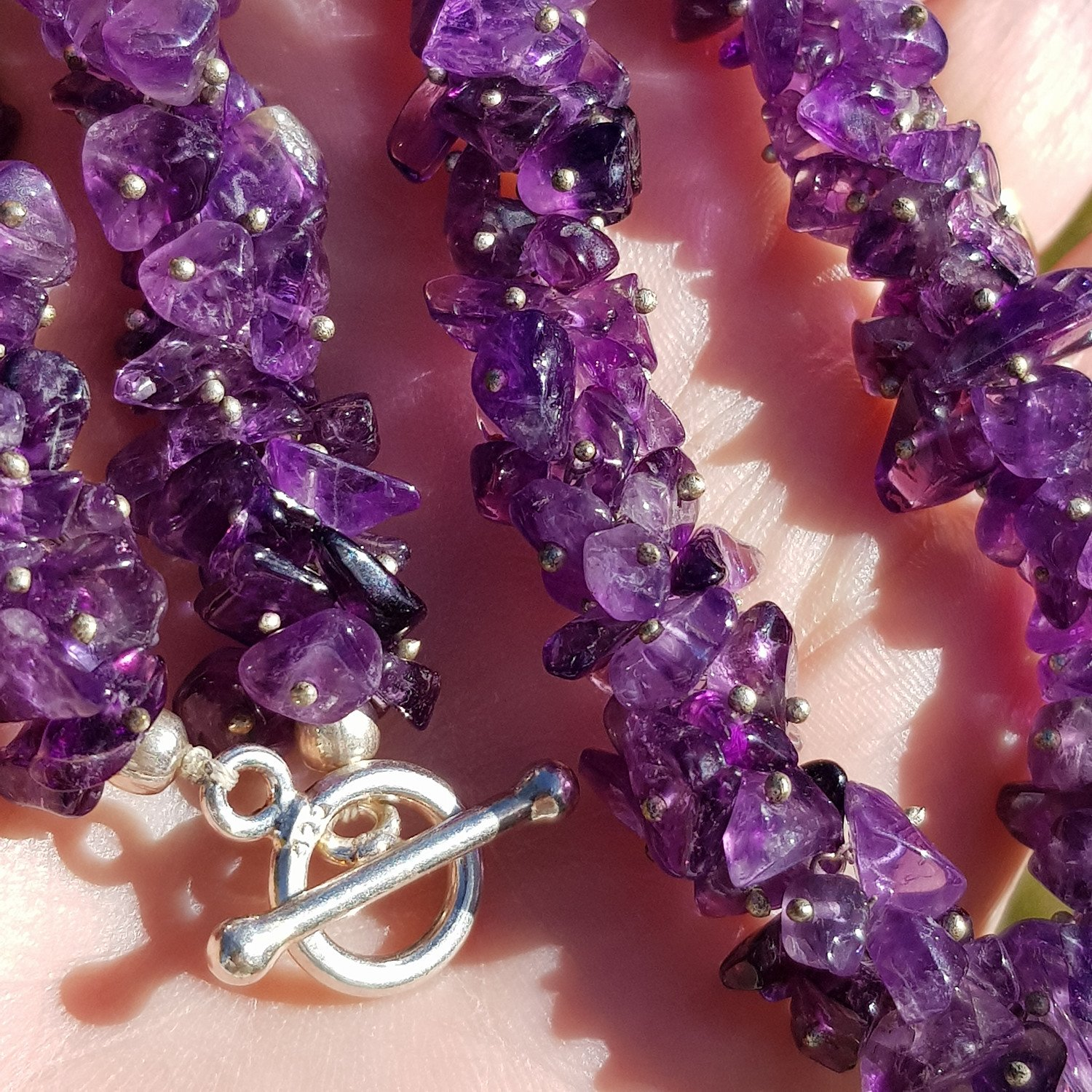 """LIMITED EDITION: Chunky Amethyst chip necklace - 18""""/45cm - Only £25 - Free UK delivery"""