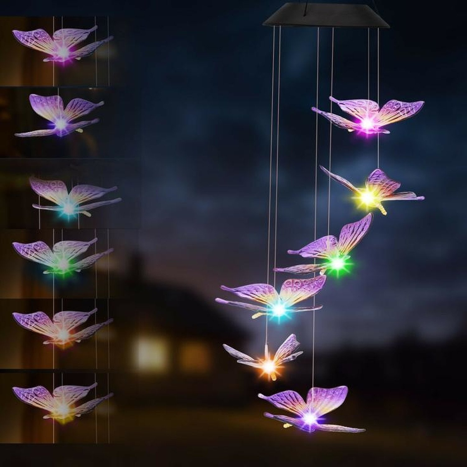 Hanging Wind Chimes Solar Powered LED Light Colour Changing Butterfly