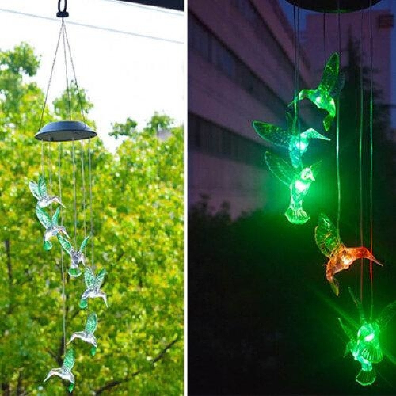 Hanging Hummingbird LED Outdoor Wind Chimes Solar Powered Lamp