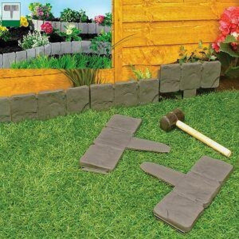 10 Pack Dark Grey Cobbled Stone Effect Garden Lawn Edging Plant Border - Simply Hammer In