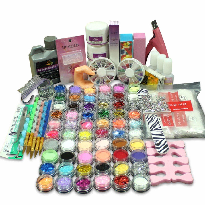 Full 60 Acrylic Powder Glitter Liquid Nail Art Kits Set Tip Brush Glue