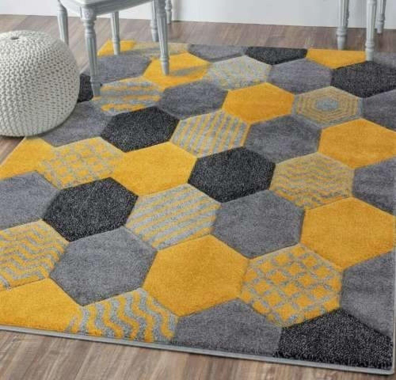 Chicago Hexagon - Ochre Yellow Rug - Free Postage