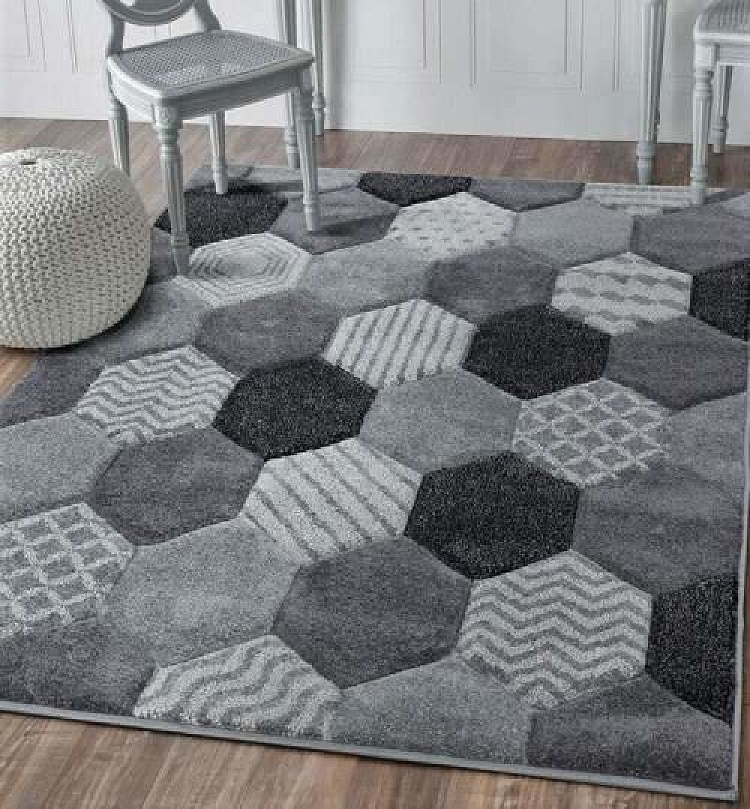 Chicago Hexagon - Grey Rug - different sizes and prices in description