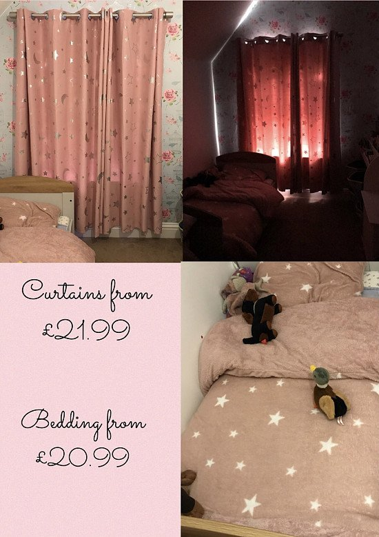 Loads of bedding and curtains