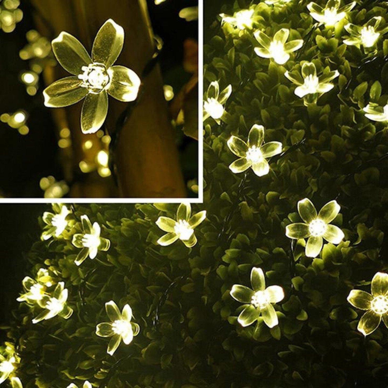 50 LED Solar Power Flower Fairy Garden Lights String Outdoor- Warm White
