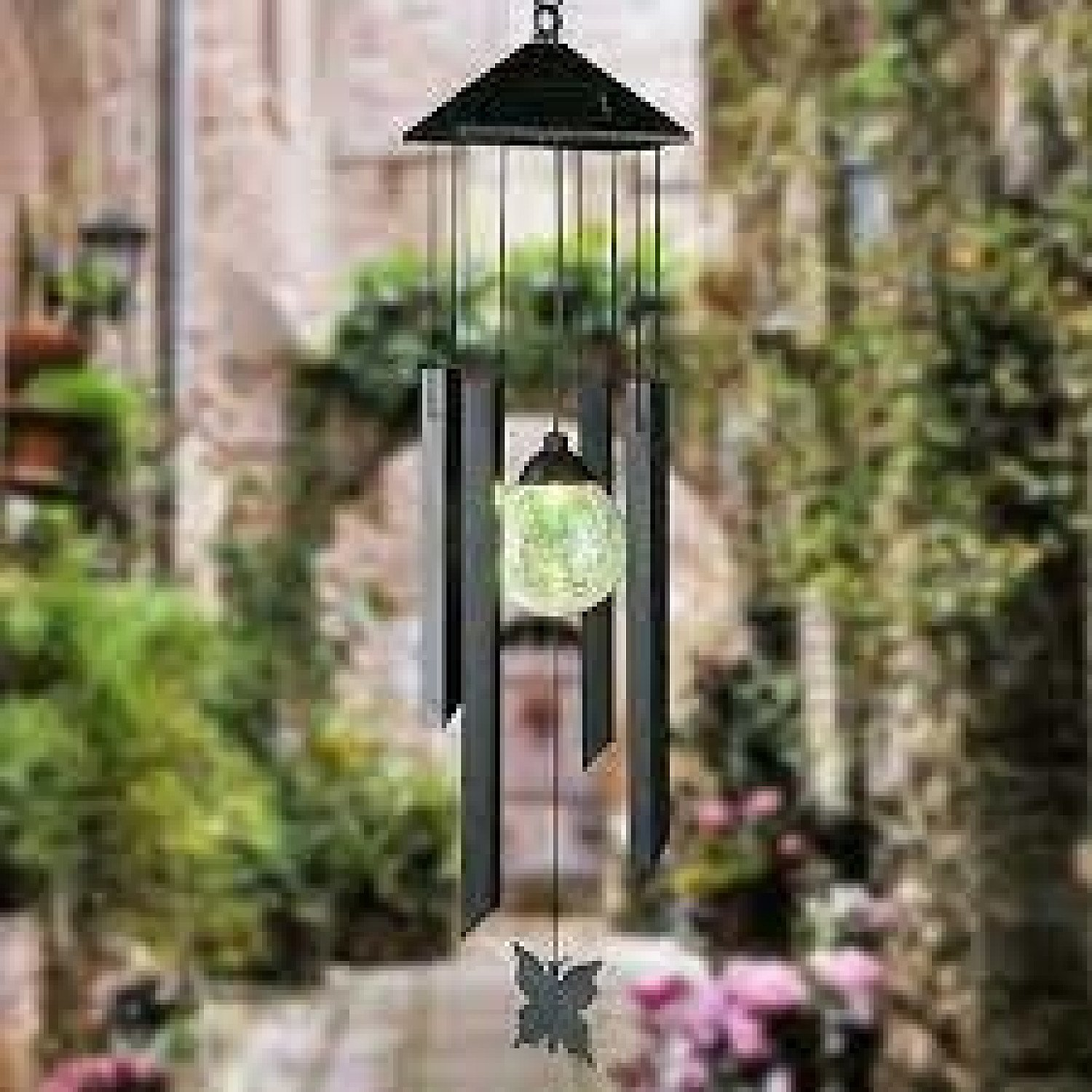 Wind Chimes Solar Powered Colour Changing Led Light Garden Windchimes
