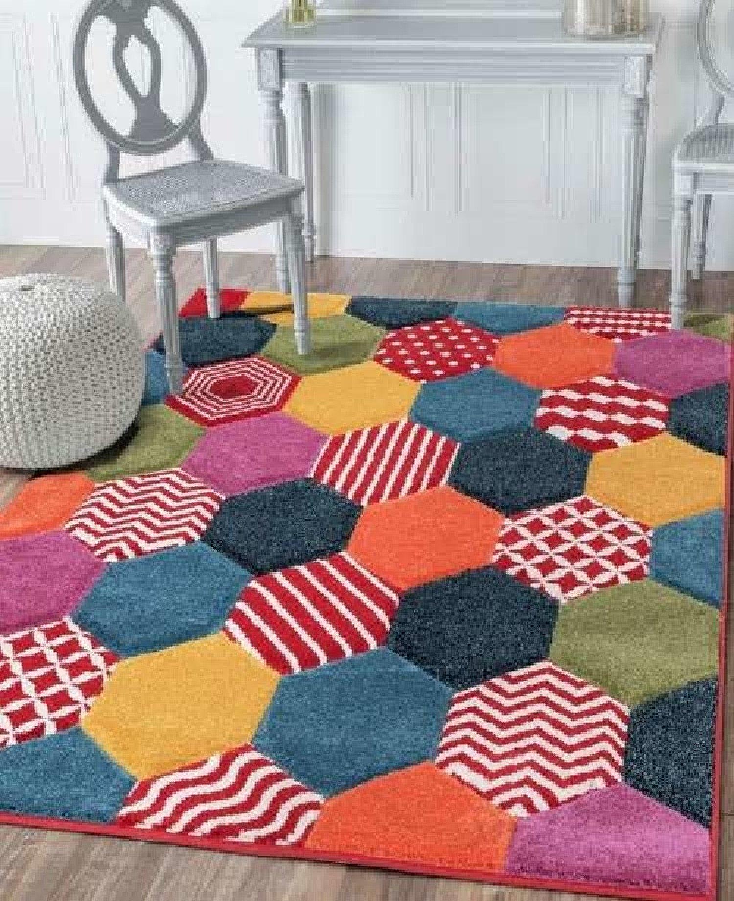 Chicago Hexagon - Multi Coloured Rug Free Postage