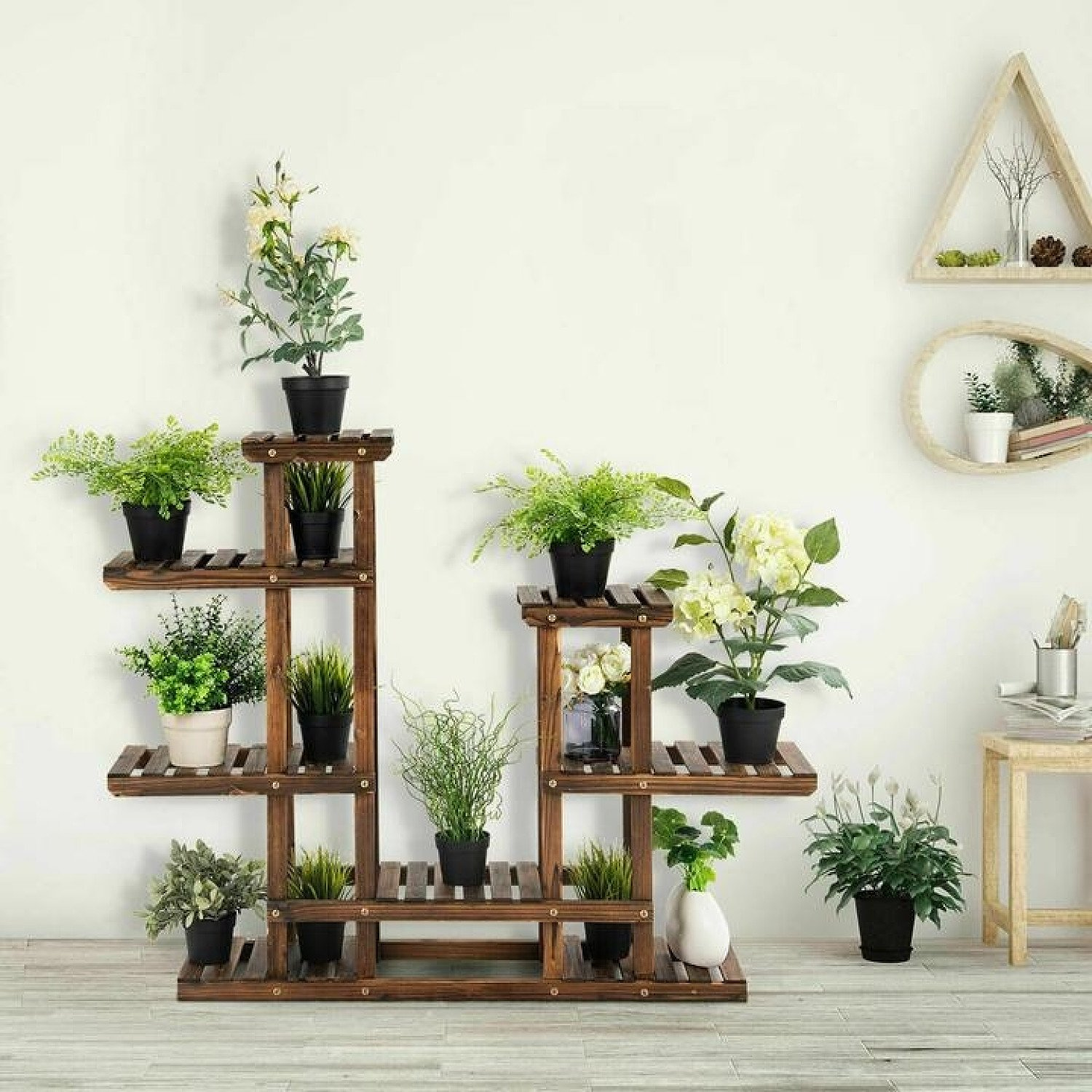 6 Tier Wooden Plant Stand Flower Pot Display Stand Free Postage