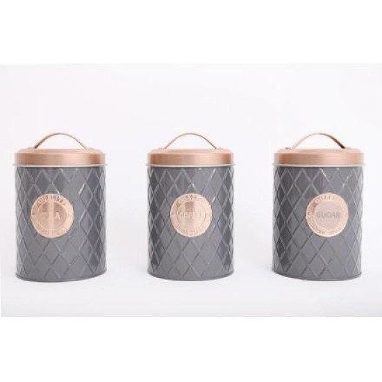 Grey and Copper Kitchen Canisters