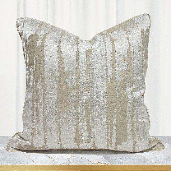 Jacquard - Beige Cushion Cover - 45 x 45 cm Or 50 x 50 cm