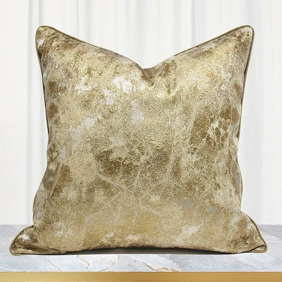 Jacquard - Champaign Golden Cushion Cover - 45 x 45 cm Or 50 x 50 cm