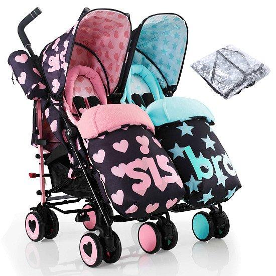 Cosatto Supa Dupa Twin Pushchair Stroller - Sis & Bro 5