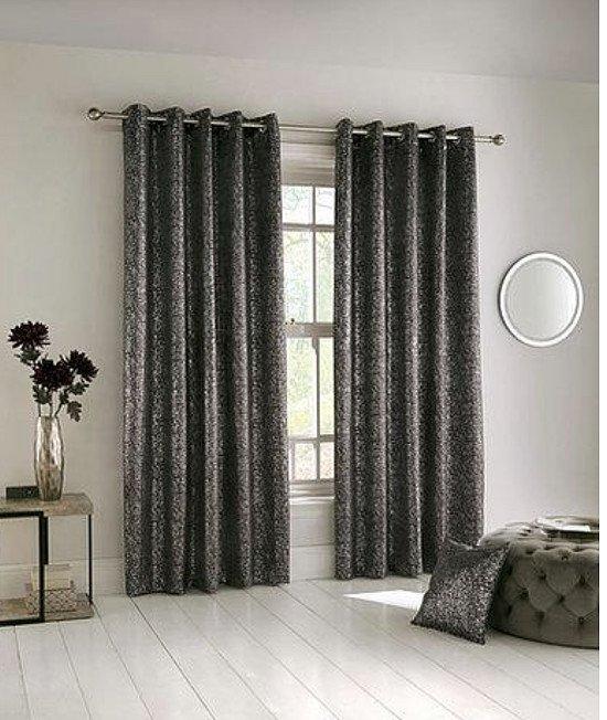 Halo Eyelet Curtains - Charcoal
