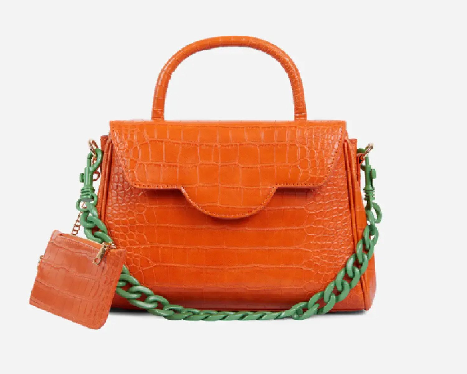 SAVE - Rosa Green Chain And Purse Detail Tote Bag In Orange Croc Print Faux Leather