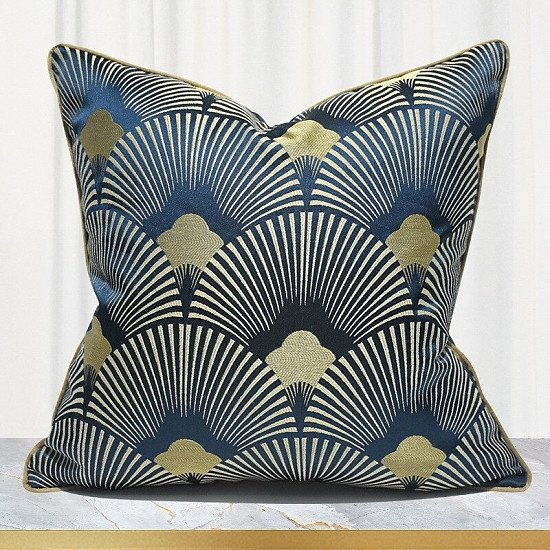 Blue Fan Striped Pattern Cushion Cover - 45 x 45 cm and 50 x 50 cm