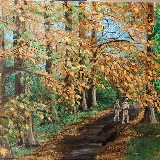 """ARTIST LIMITED EDITION GICLEE PRINT,  'AN AUTUMN WALK'"""" SPECIAL PROMO PRICE £45."""