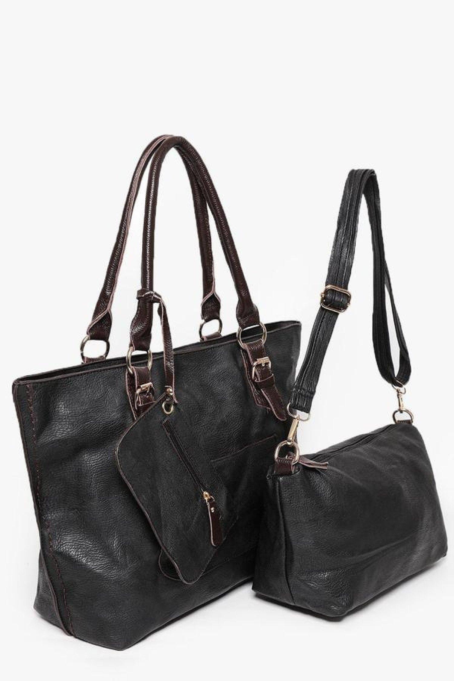 Black Vegan Raw Soft Leather 3 in 1 Free Postage