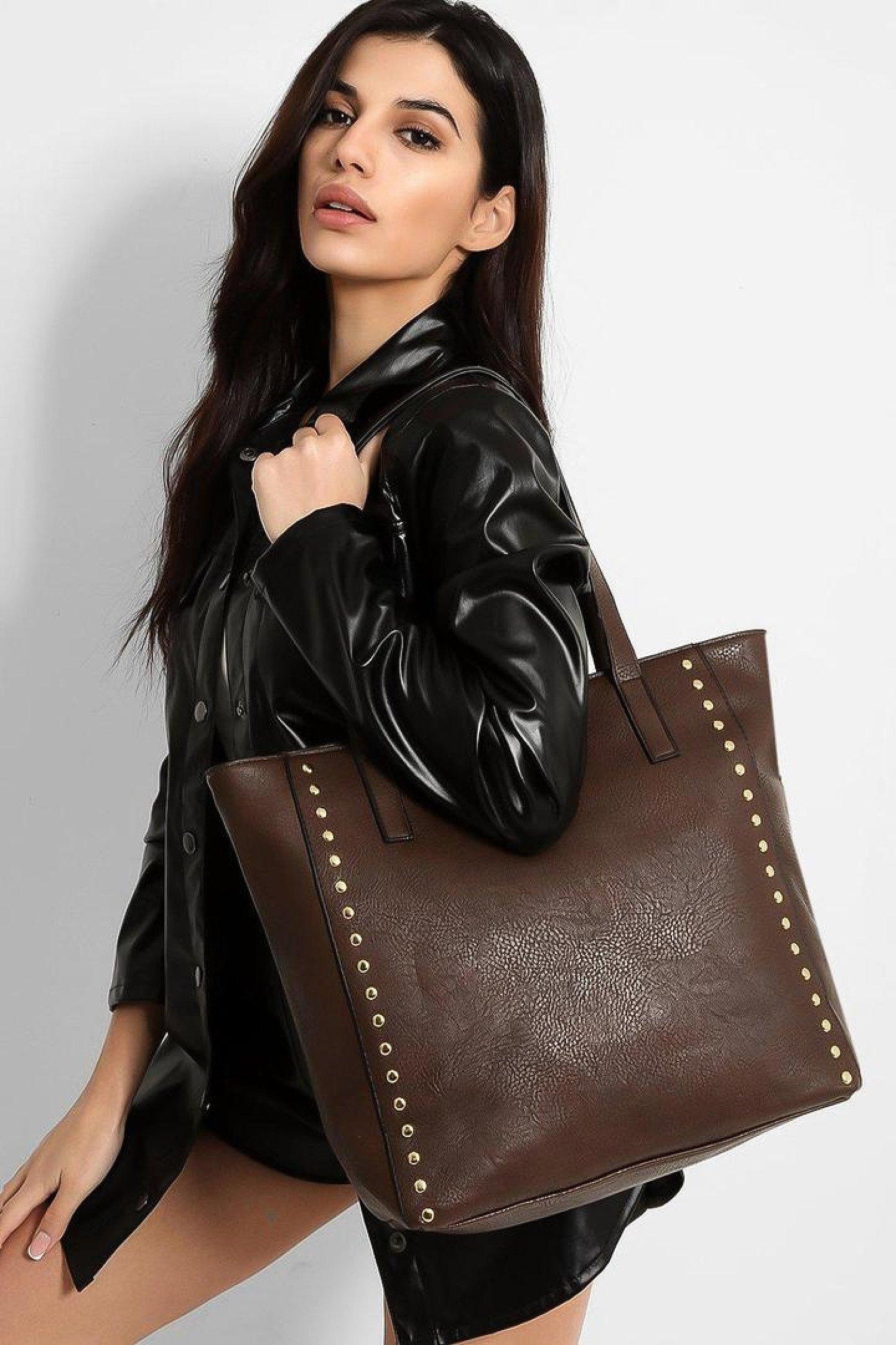 Dark Brown Leather Gold Stud Bag Free Postage