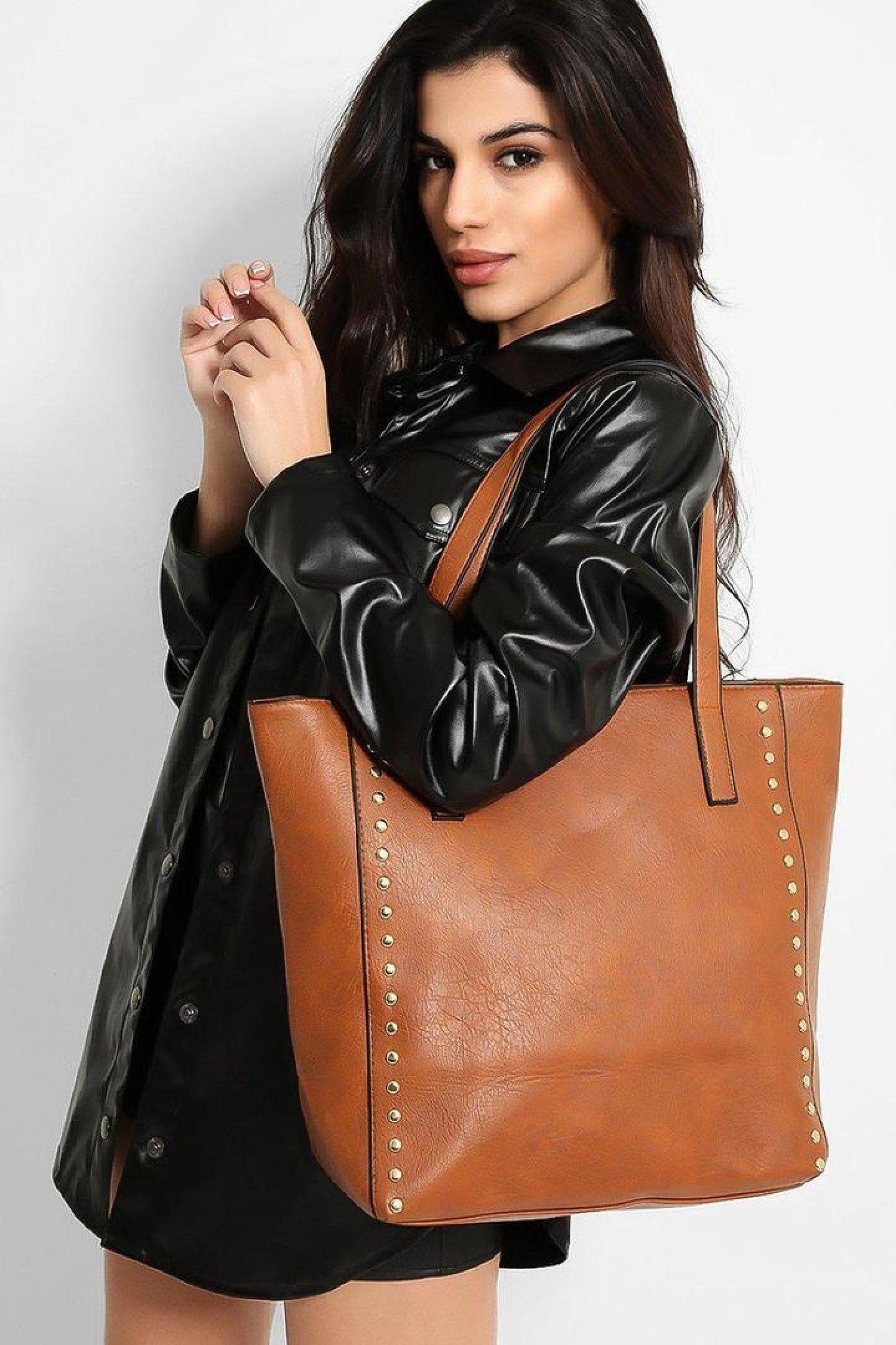 Tan Leather Gold Stud Bag Free Postage