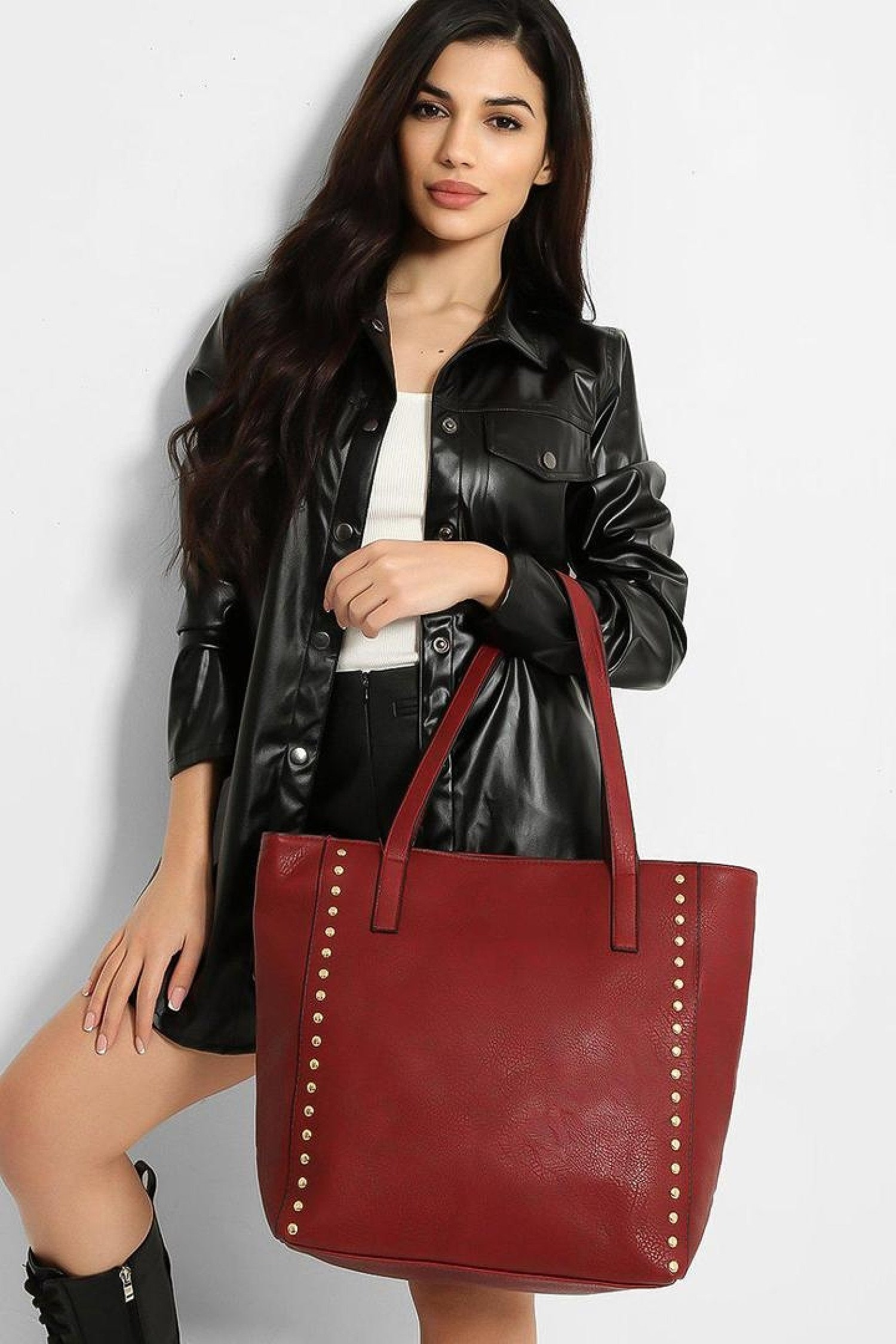 Dark Red Leather Gold Stud Bag Free Postage