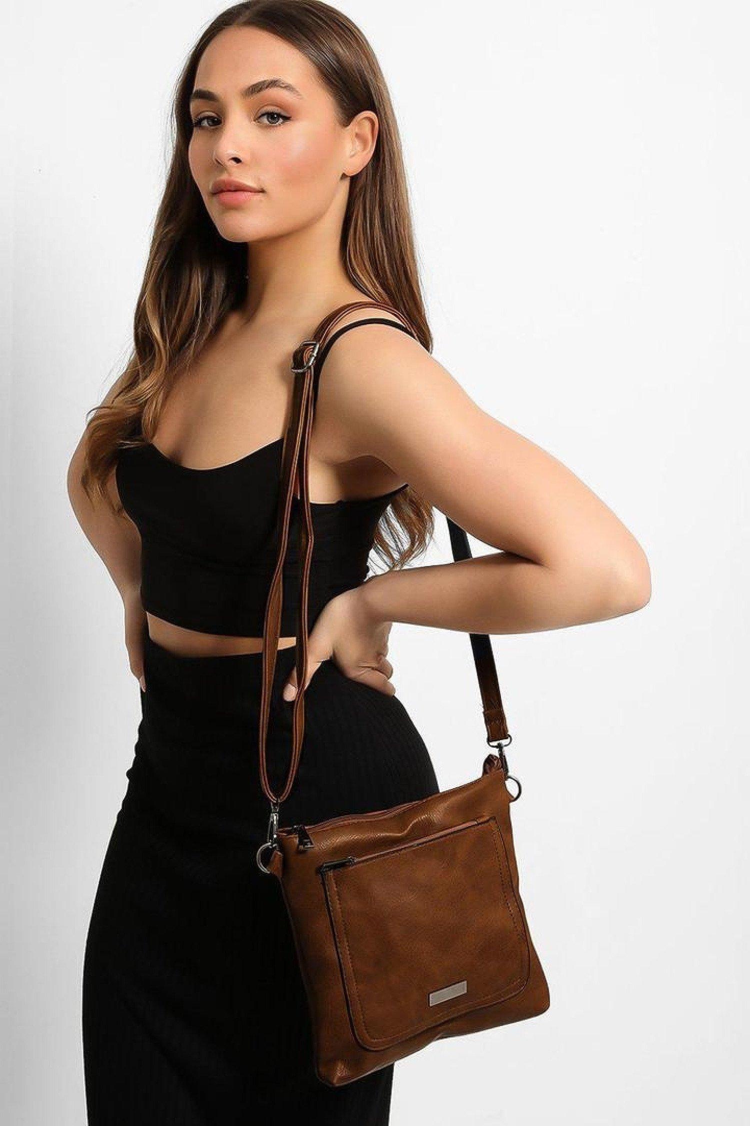 Brown Zipped Front Pocket Shoulder Bag Free Postage