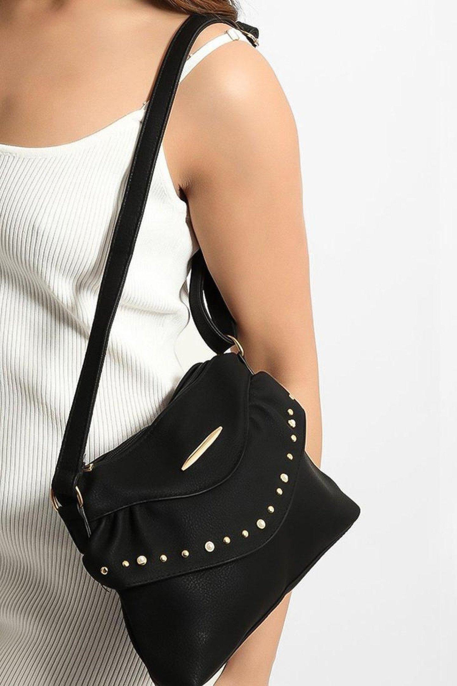 Black Embellished Front Frill Detail Mini Crossbody Bag