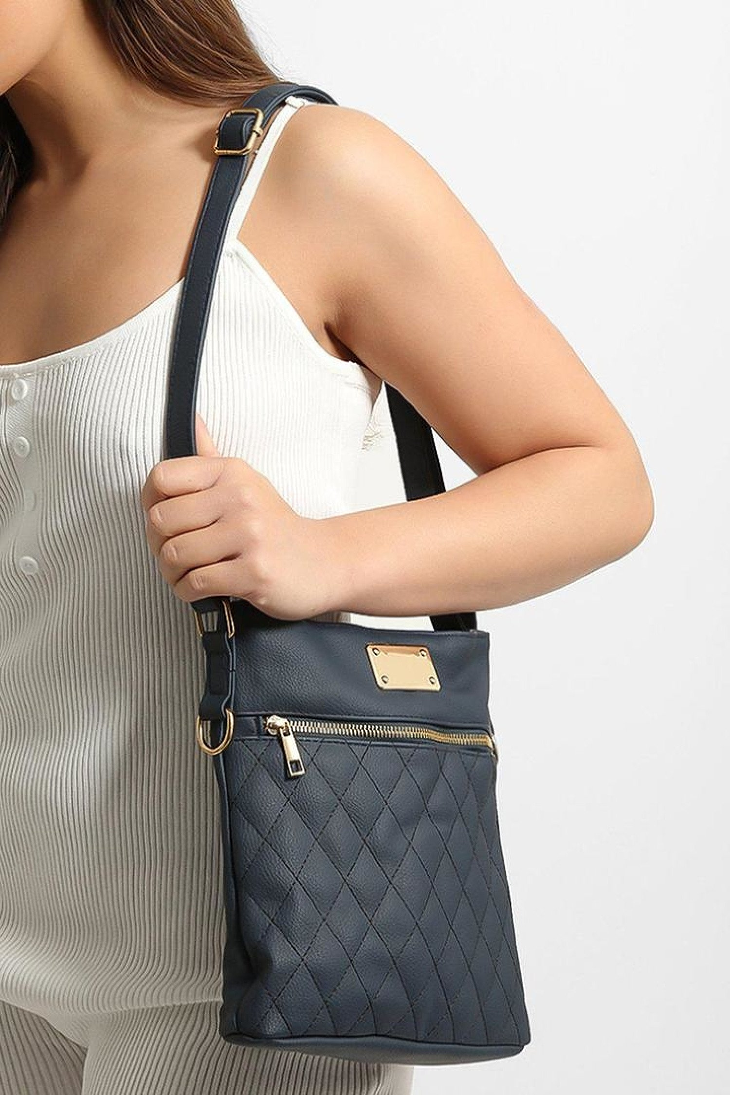 Navy Quilted Front Zip Cross Body Bag Free Postage