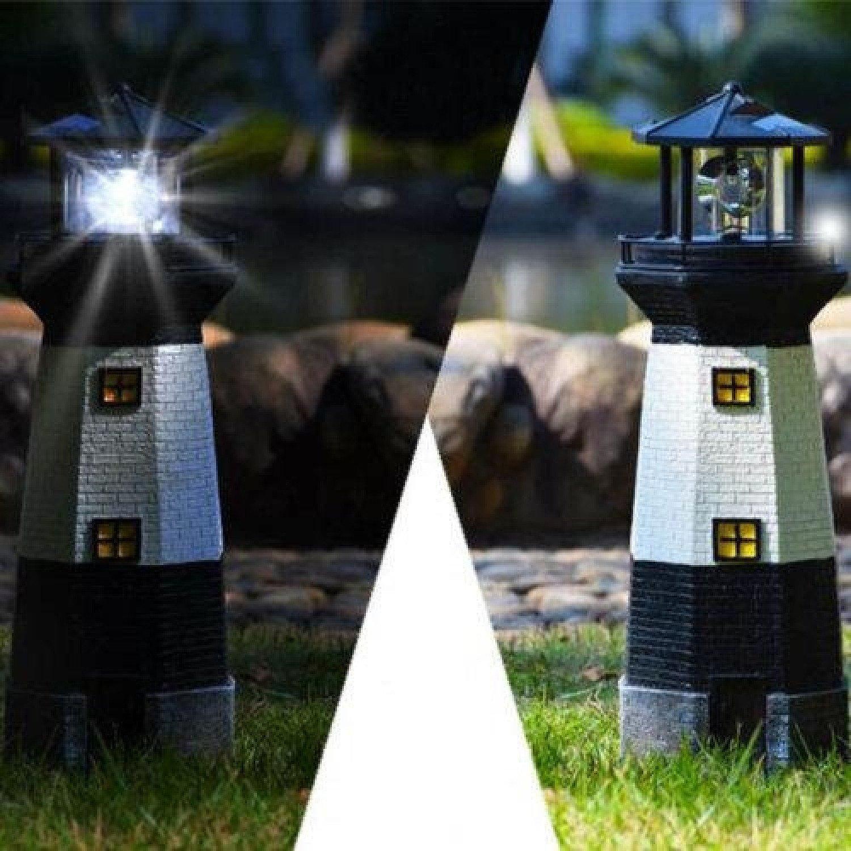 SOLAR POWER LIGHTHOUSE ROTATING LED GARDEN LIGHT Free Postage