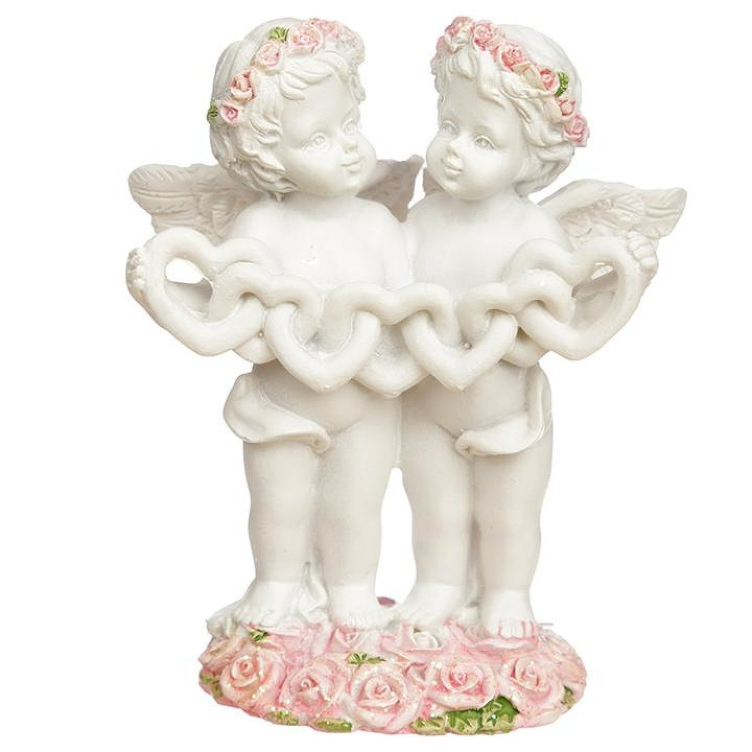 Collectable Cherub Pair with Heart Chain Free Postage
