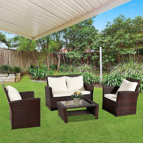 Oshion Outdoor Rattan Sofa Combination Four-piece Package-Brown Package-1 (Combination Total 2 Boxes