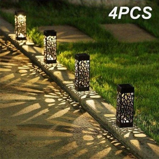 4pk Outdoor Solar-Powered LED Garden Lights