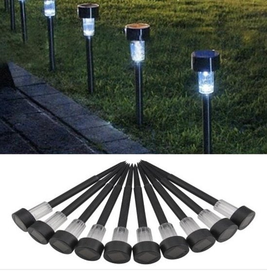 Garden Post Pathway Lights For Outdoor Lighting Rechargeable LED ×10