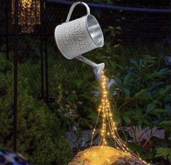 Garden Art Light Decoration String Lights Watering Can Shape Decor