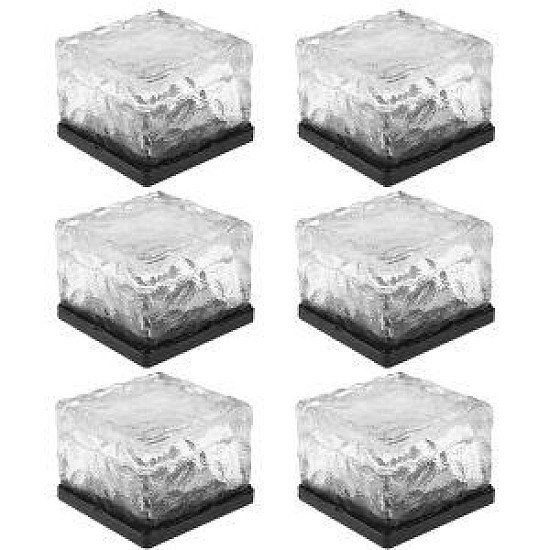 6x Solar Garden Glass Cube Path Light
