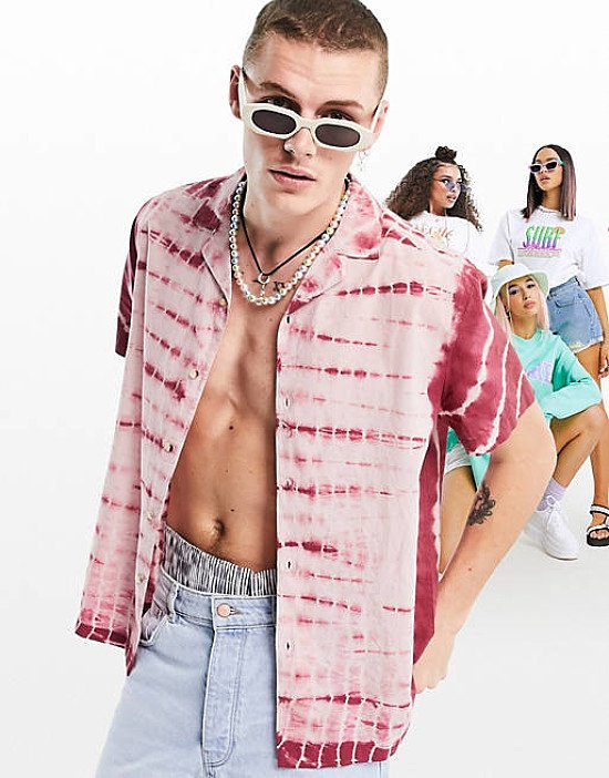 ASOS DESIGN relaxed fit cotton tie dye shirt in pink - £25.00!