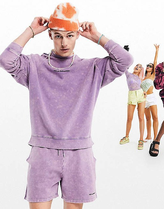 ASOS DESIGN oversized co-ord jersey set in purple acid wash with logo print - £25.00!